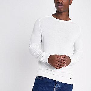 Crème slim-fit pullover met geribbeld paneel