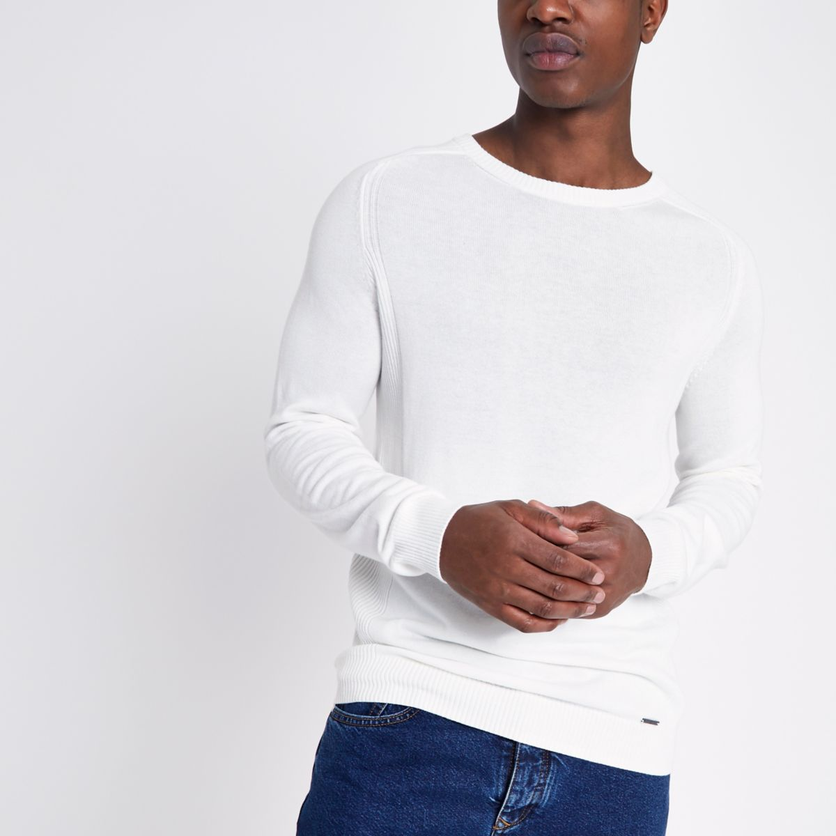 Cream ribbed panel slim fit sweater