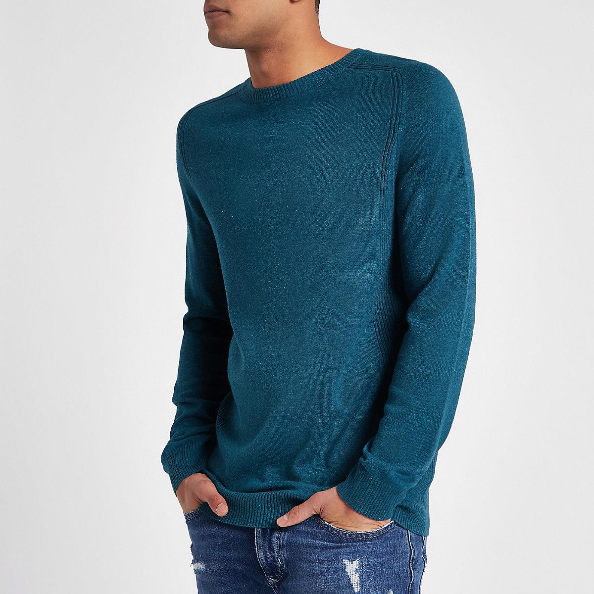 Turquoise slim-fit pullover met geribbeld paneel