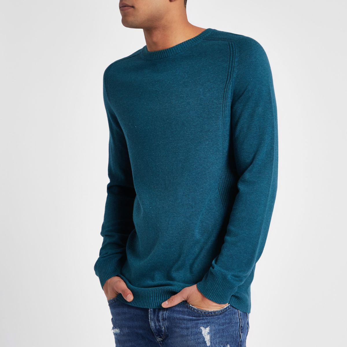 Turquoise ribbed panel slim fit jumper
