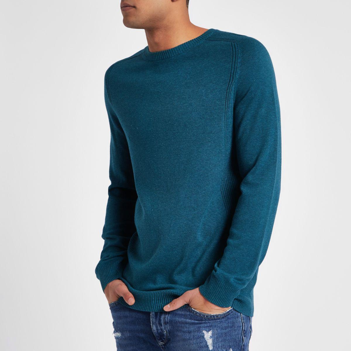 Pull slim turquoise à empiècements côtelés