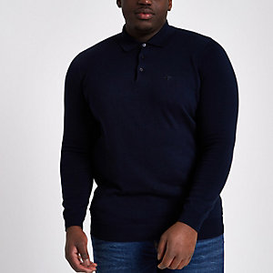 Big and Tall navy long sleeve polo shirt