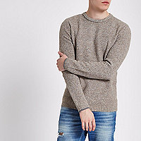 Stone textured knit slim fit crew neck sweater