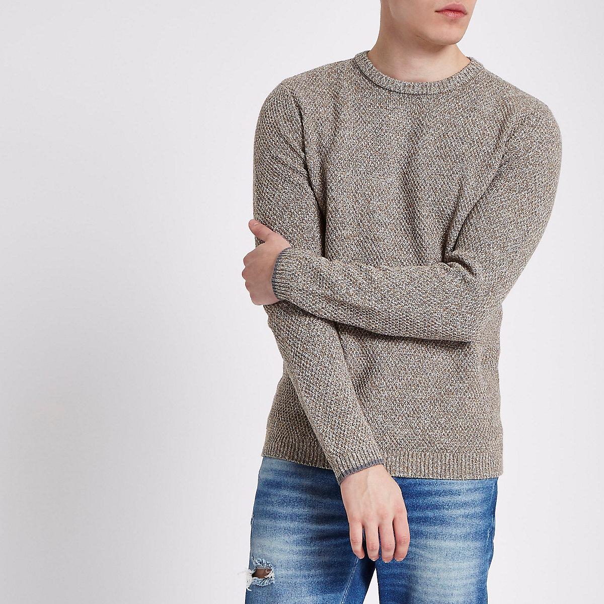 Stone textured knit slim fit crew neck jumper
