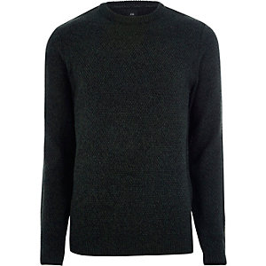 Green textured knit slim fit crew neck jumper