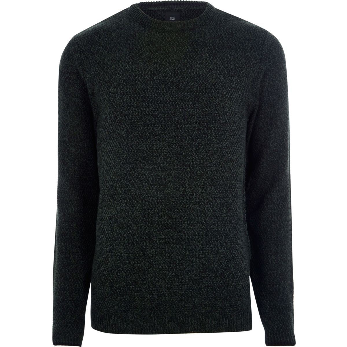Green textured knit slim fit crew neck sweater