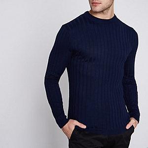 Blauwe geribbelde aansluitende pullover met ronde hals
