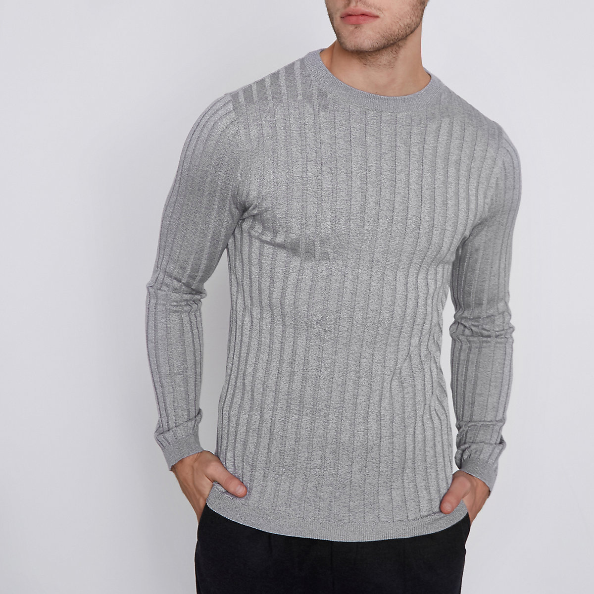 Grey rib knit muscle fit crew neck sweater