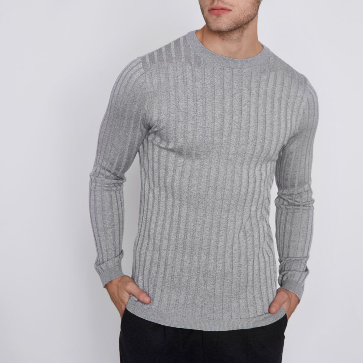 Grey rib knit muscle fit crew neck jumper
