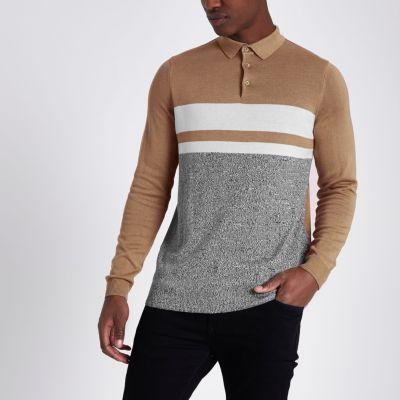 Light brown blocked long sleeve polo shirt polo shirts men for Light brown polo shirt