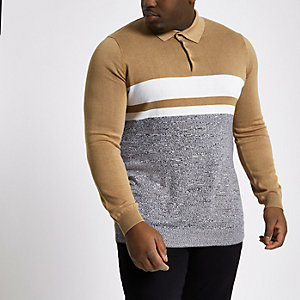 Big and Tall brown block knit polo shirt
