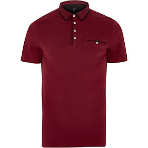 Red slim fit contrast trim polo shirt