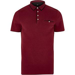 Red slim fit contrast trim polo shirt