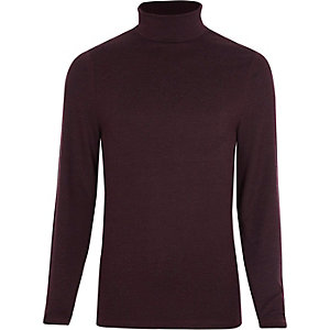 Dark red long sleeve slim fit t-shirt