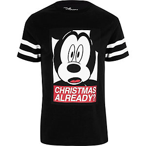 "Schwarzes Mickey Mouse T-Shirt mit ""Christmas already?""-Print"