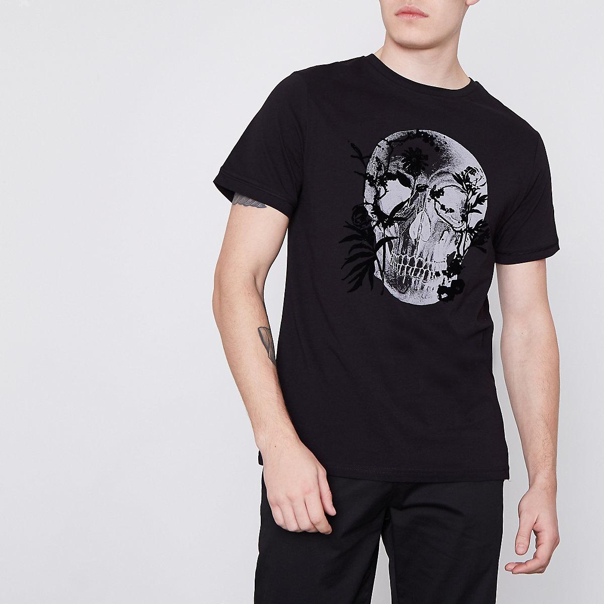 Schwarzes, schmales T-Shirt mit floralem Totenkopf-Print