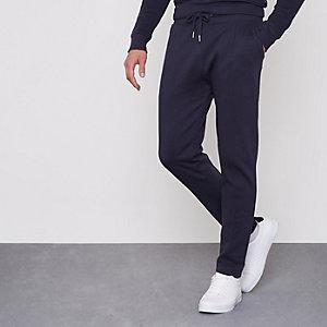 Pantalon de jogging ajusté en piqué bleu marine