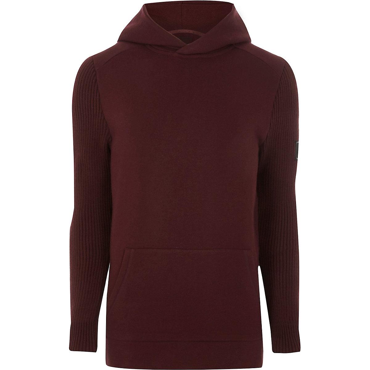 Dark red ribbed knit sleeve slim fit hoodie