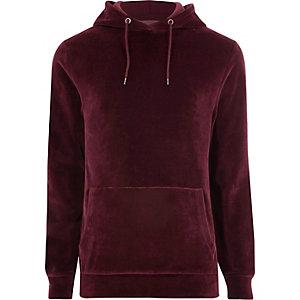Burgundy velour hoodie