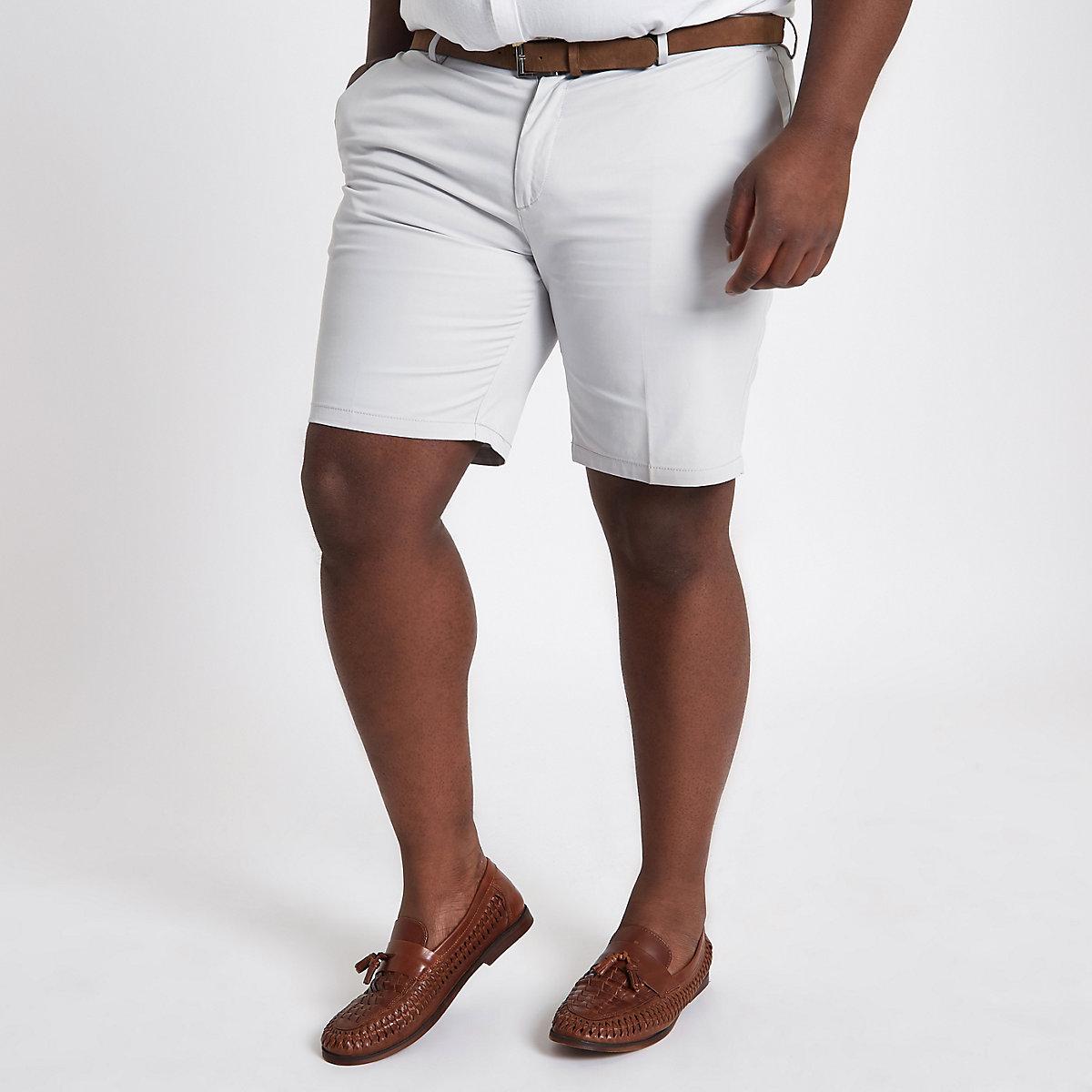 Big and Tall – Steingraue Chino-Shorts mit Gürtel