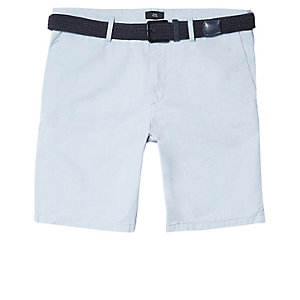 Big and Tall – Short chino bleu clair avec ceinture