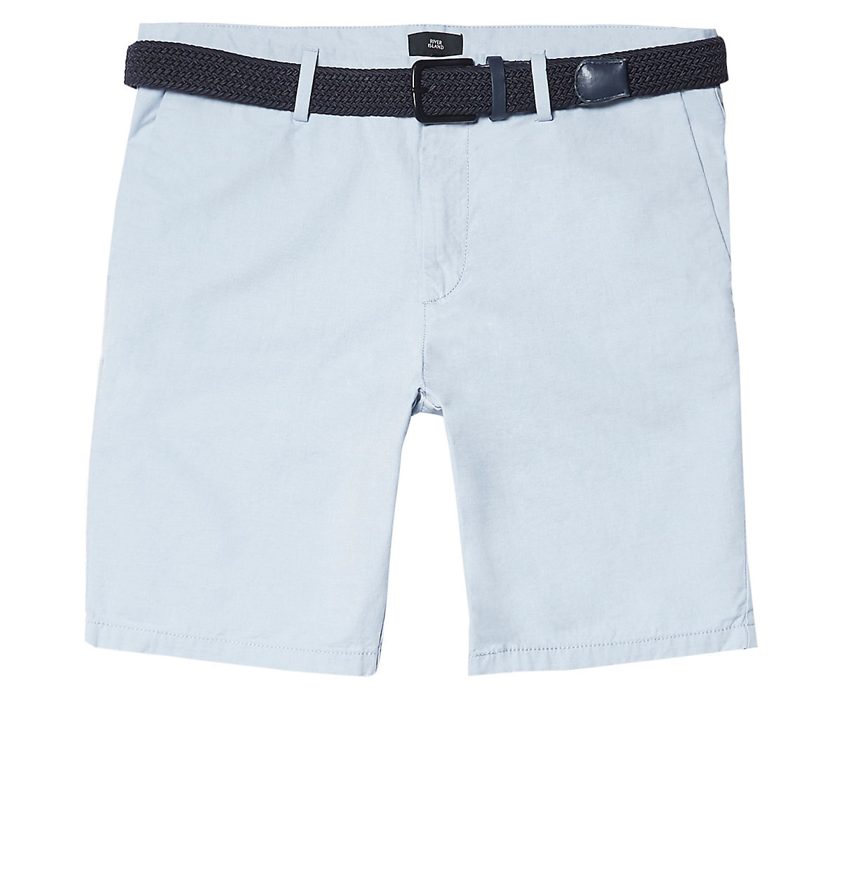 Big and Tall light blue belted chino shorts