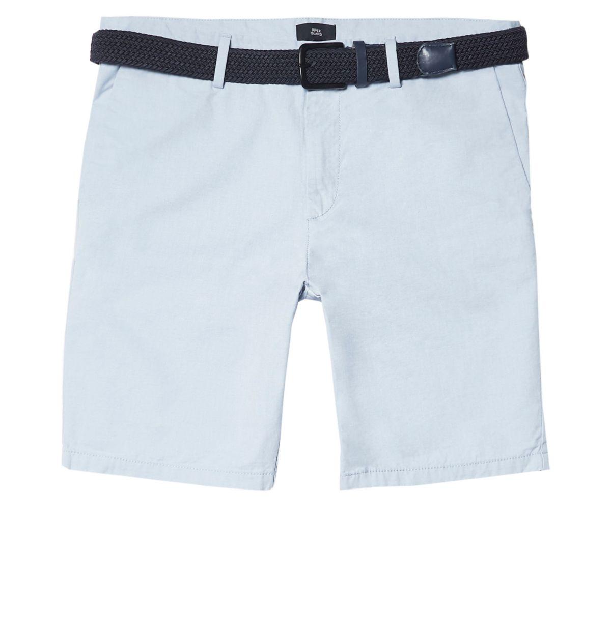 Big & Tall – Hellblaue Chino-Shorts mit Gürtel