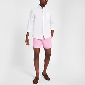 Short chino rose coupe slim