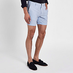 Blauwe slim-fit chino short