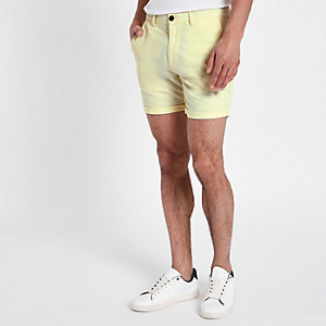 Yellow slim fit chino shorts