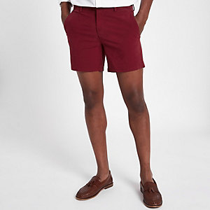Short chino rouge coupe slim