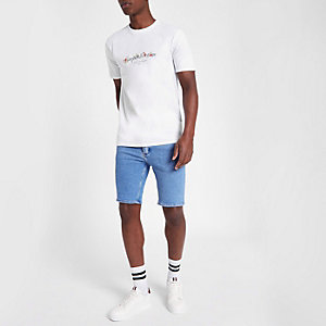 Light blue skinny fit denim shorts