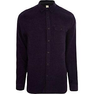 Chemise casual violet chiné à manches longues
