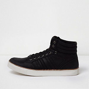 Black mid top lace-up trainers