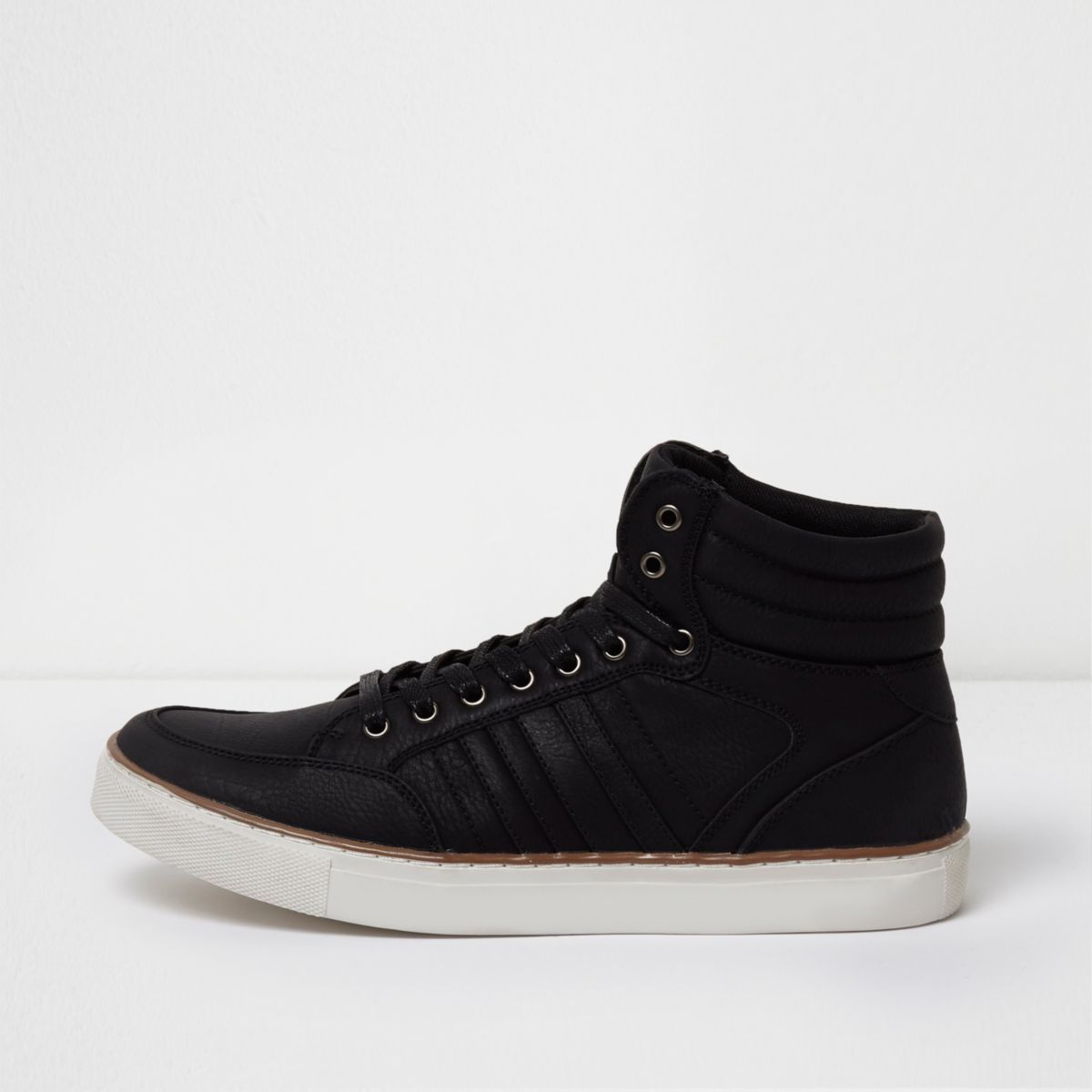 Black mid top lace-up sneakers