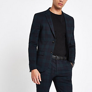 Green check ultra skinny fit suit jacket