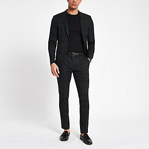 Green check ultra skinny fit suit trousers