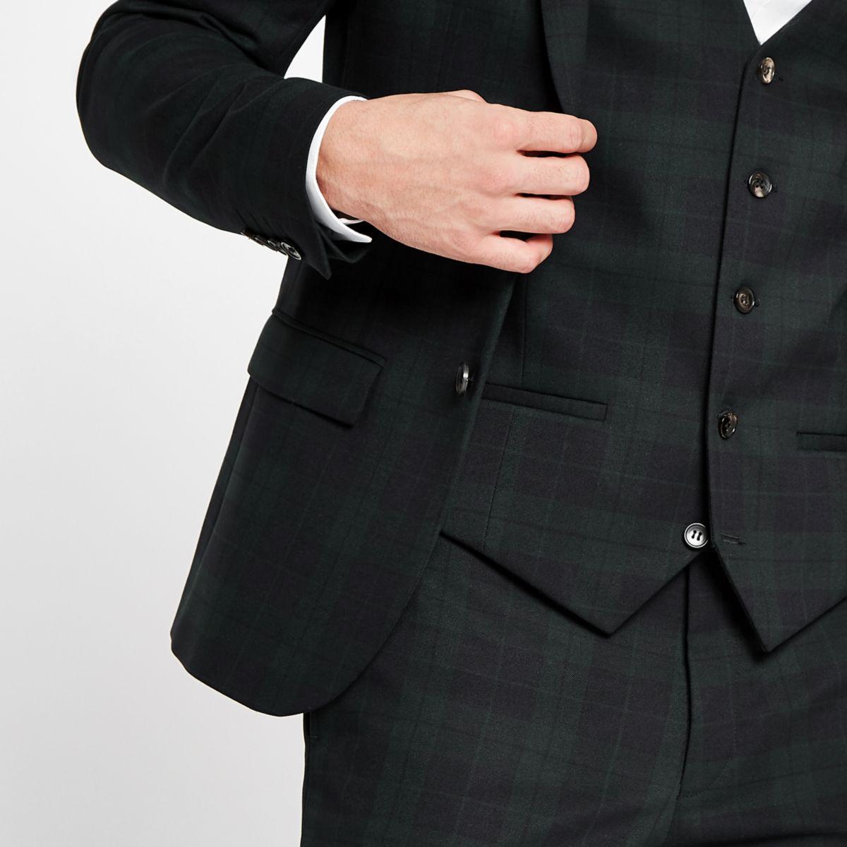Green tartan check suit waistcoat
