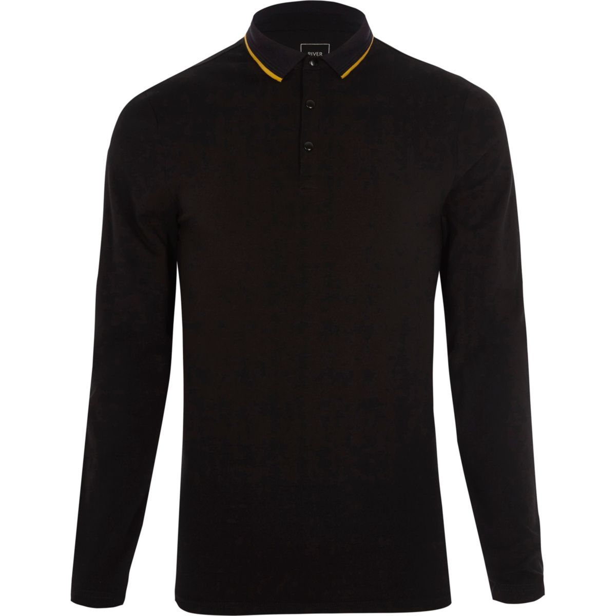 Black muscle fit tipped collar polo shirt
