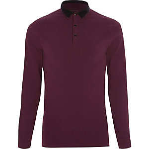 Burgundy tipped muscle fit polo shirt
