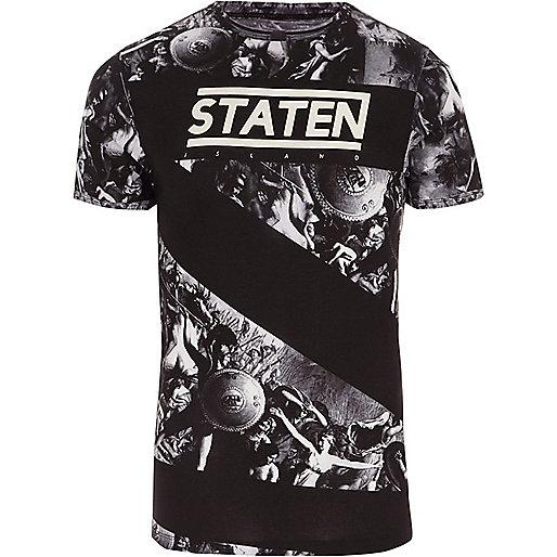 Black renaissance print muscle fit T-shirt