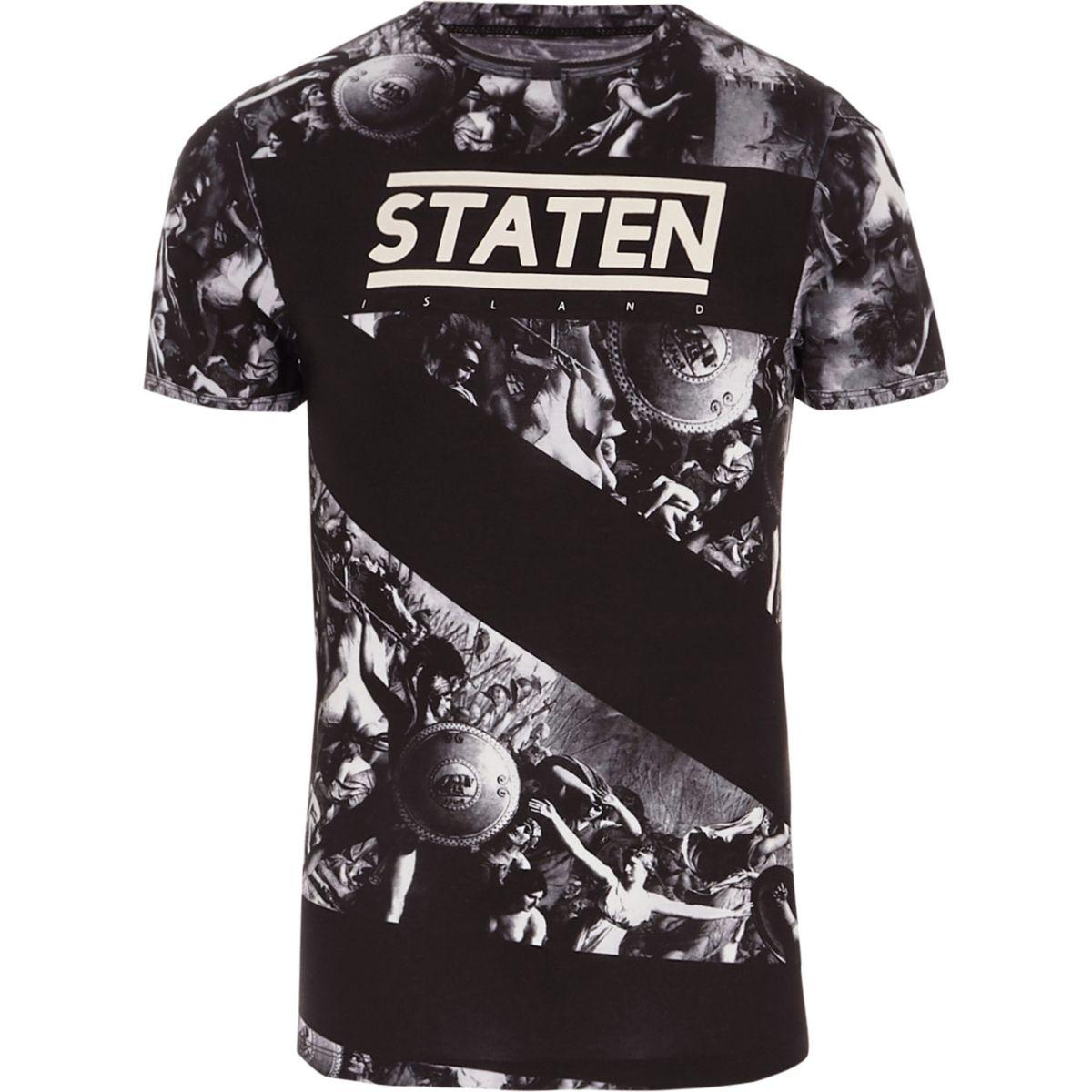T-shirt ajusté imprimé renaissance noir