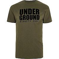 Khaki green 'underground' slim fit T-shirt