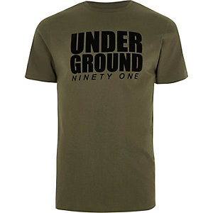 Khaki green 'underground' slim fit T-shirt