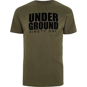Kakigroen slim-fit T-shirt met 'underground'-print