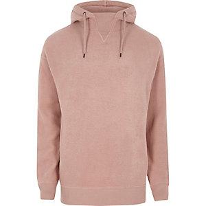 Sweat à capuche en polaire rose