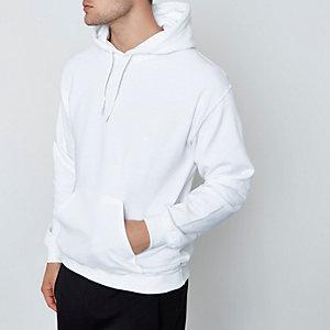 Weißer, langärmeliger Jersey-Hoodie