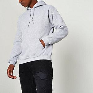 Sweat à capuche en jersey gris à manches longues