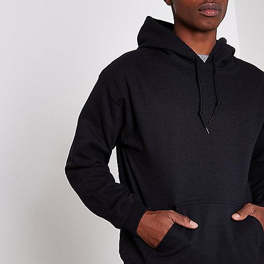 Black long sleeve jersey hoodie
