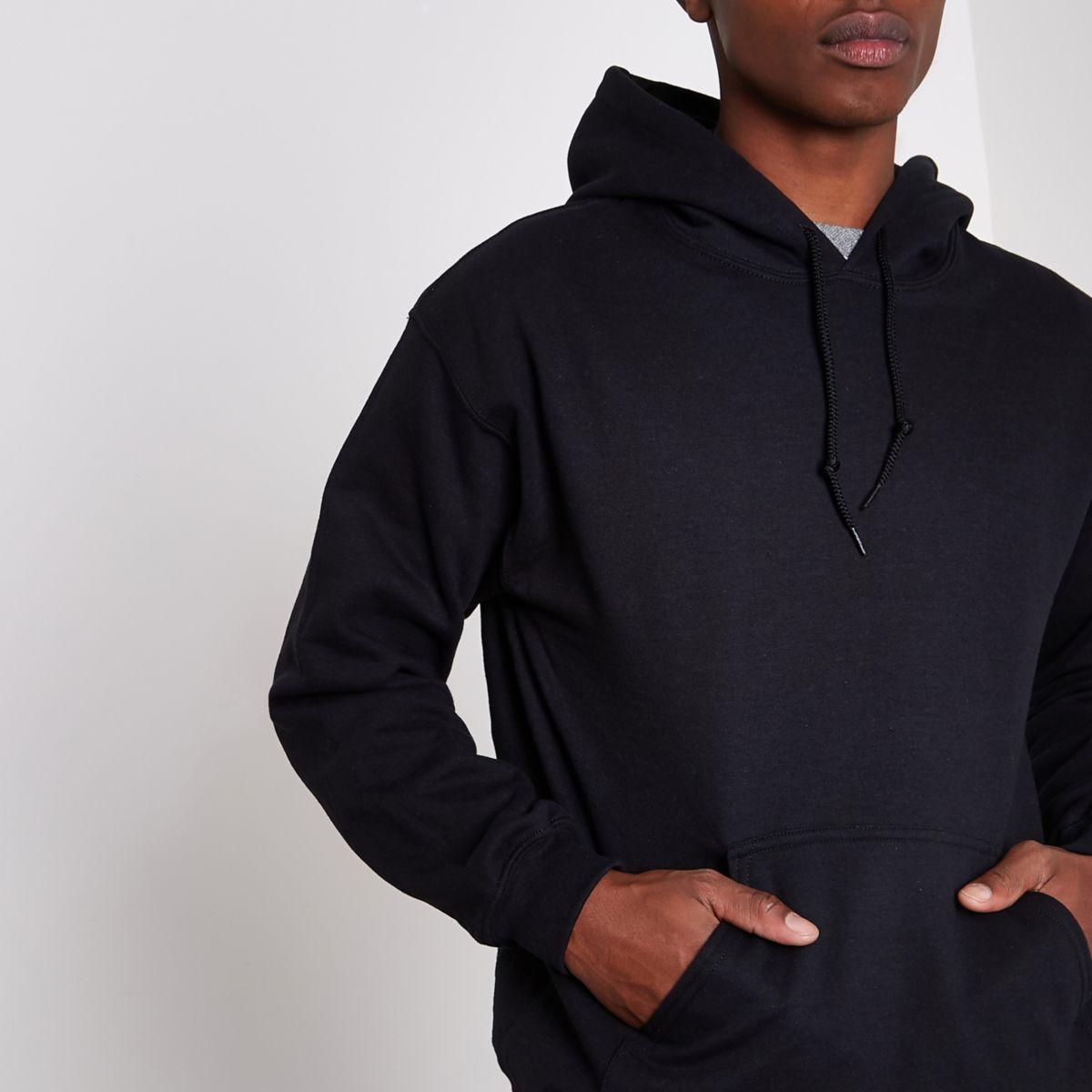 Zwarte jersey hoody met lange mouwen